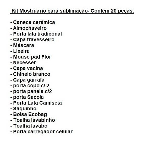 53a78ec452db81 Kit Mostruário Para Sublimação - 100% Poliéster (20 Peças)