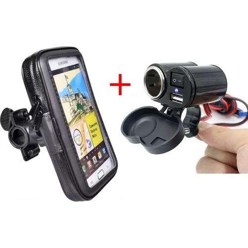 kit motoboy suporte p/ celular p/ agua gps + tomada usb moto