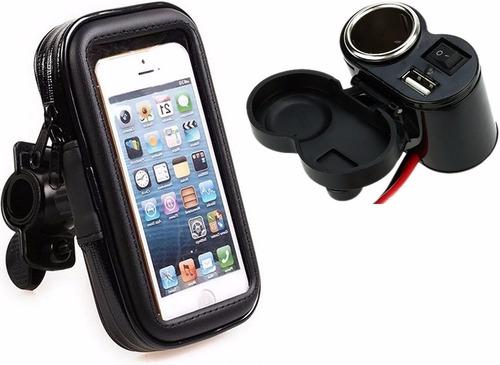 kit motoboy tomada 5v 12v moto carrega celular gps + suporte