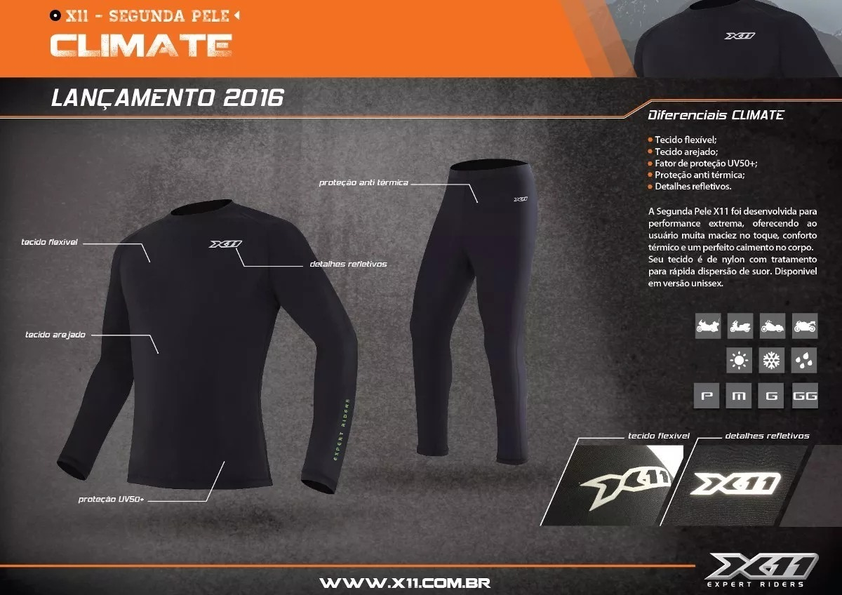 kit motociclista conjunto segunda pele + luva x11 térmica. Carregando zoom. 0380626557151