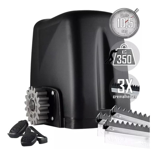kit motor 1/5hp portão deslizante 350kg atto turbo rossi