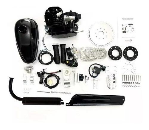 kit motor 2 tempos 80cc gasolina p/ bicicleta prata completo