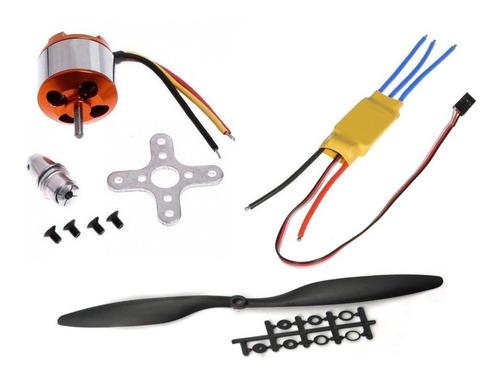 kit motor brushless a2212 1000kv + esc 30a + hélices 1045