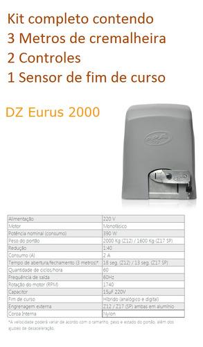 kit motor de portão eletrônico industrial ppa eurus 2000 1hp