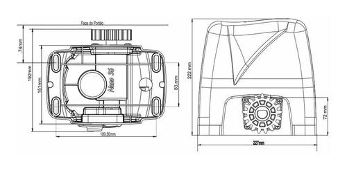 kit motor p/ portão deslizante dz nano 36 turbo rossi 1/4 hp