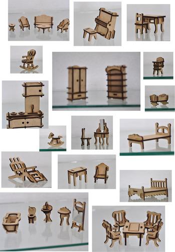 kit móveis para casinha boneca mdf - 32 peças personalizado