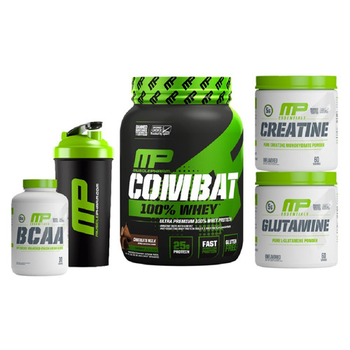 kit mp combat whey + creatina + glutamina + bcaa + coque