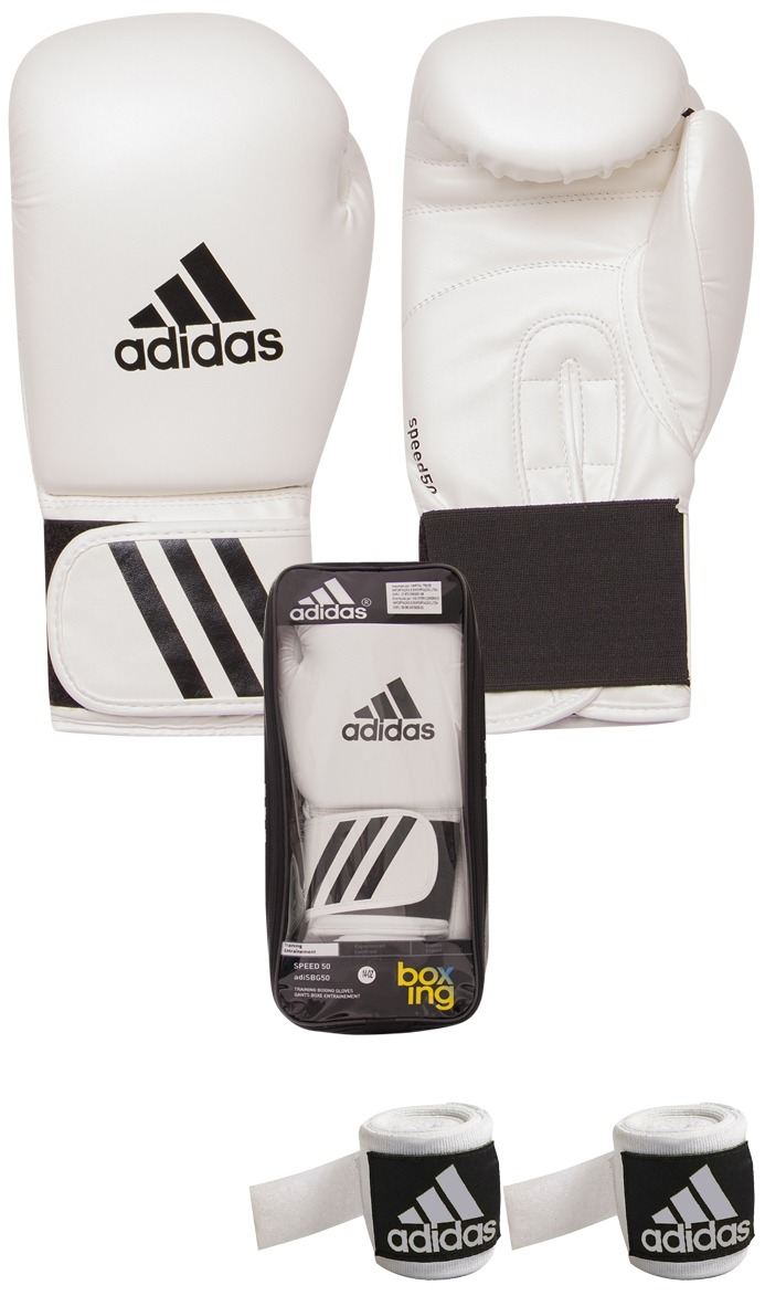 5cb03935de kit muay thai boxe luva adidas 12oz branca + bandagem 2