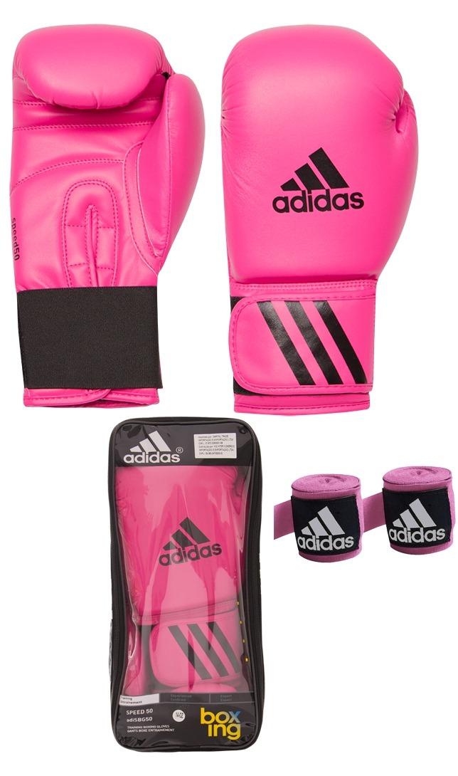 a16ff0133 Kit Muay Thai Boxe Luva adidas 12oz Rosa + Bandagem 2