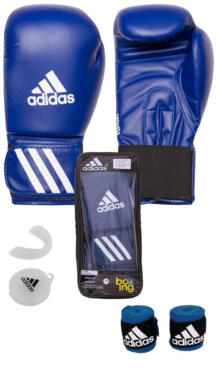 8f9ed419f Kit Muay Thai Boxe Luva adidas 14oz Azul + Band 2