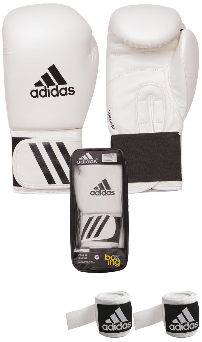 f49407ae5 Kit Muay Thai Boxe Luva adidas 14oz Branca + Bandagem 2