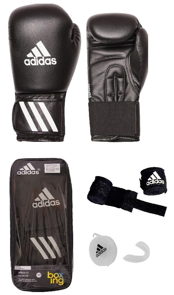 eccd45685 Kit Muay Thai Boxe Luva adidas 14oz Preta +band 2