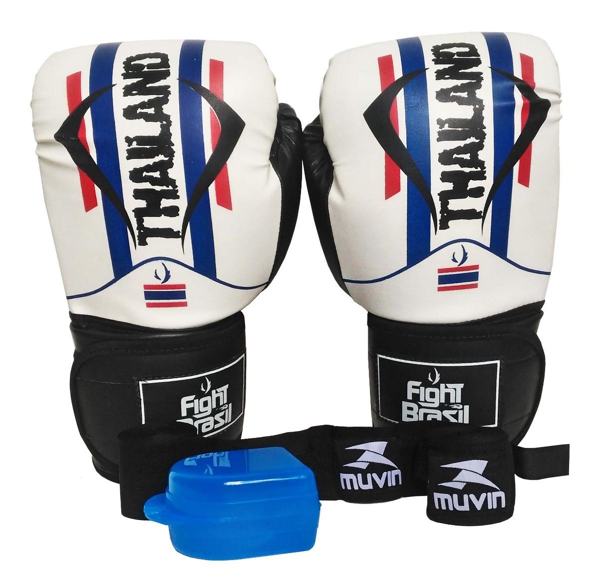 019fe30b5 kit muay thai boxe luva bandagens bucal fight brasil 14 oz. Carregando zoom.