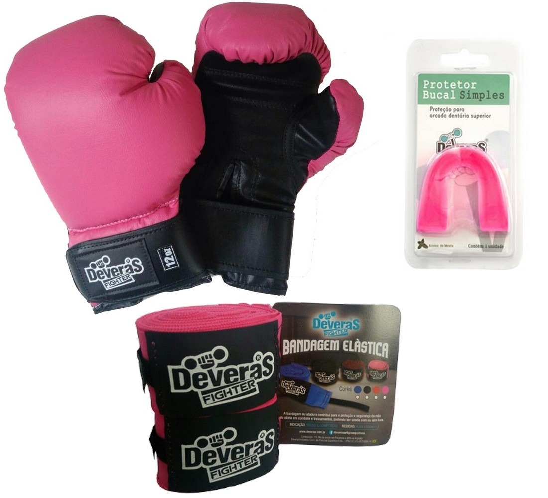 11ad025e17 Kit Muay Thai Feminino Boxe Luva + Bandagem Protetor Bucal - R  175 ...