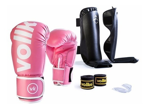 kit muay thai luva 12oz vollke bandagem,  bucal e caneleira