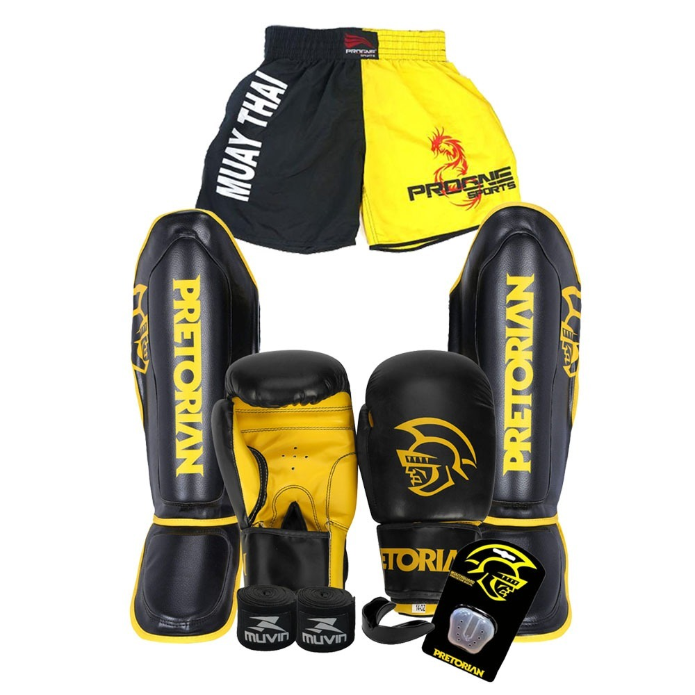 4664d53b0 kit muay thai top - luva 14 oz caneleira pretorian + short. Carregando zoom.