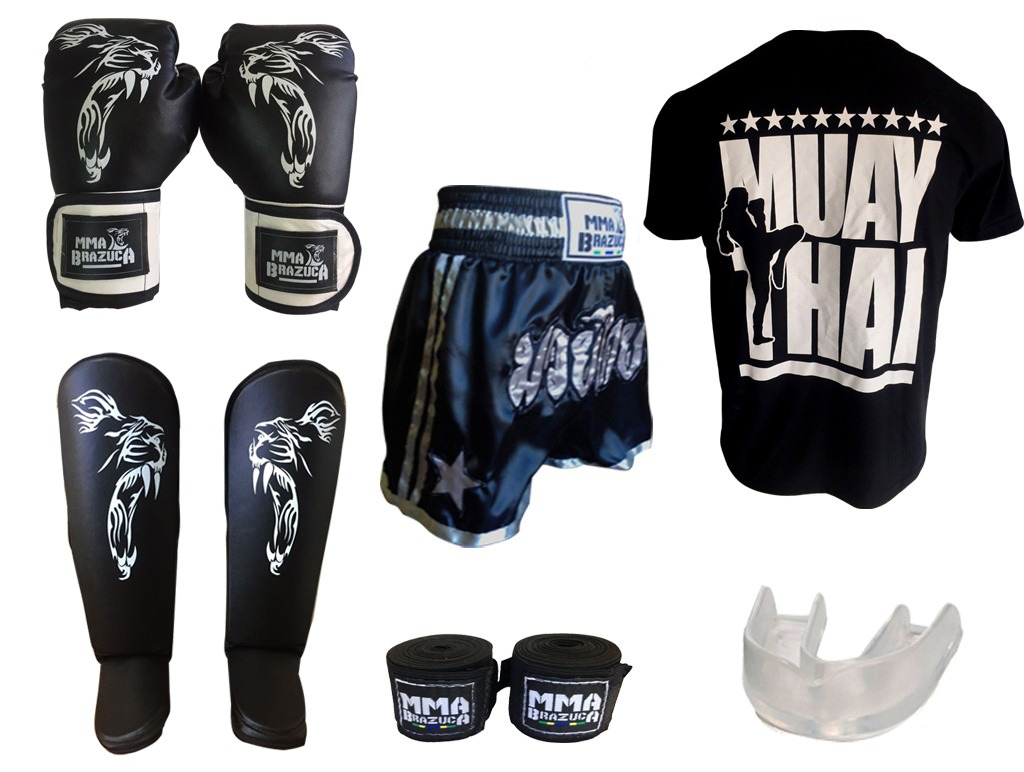d68bc7baa kit muaythai - luva can shorts camiseta (gg) band bucal. Carregando zoom.