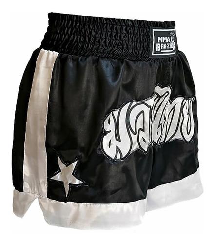 kit muaythai: luva caneleira shorts bolsa band bucal - preto