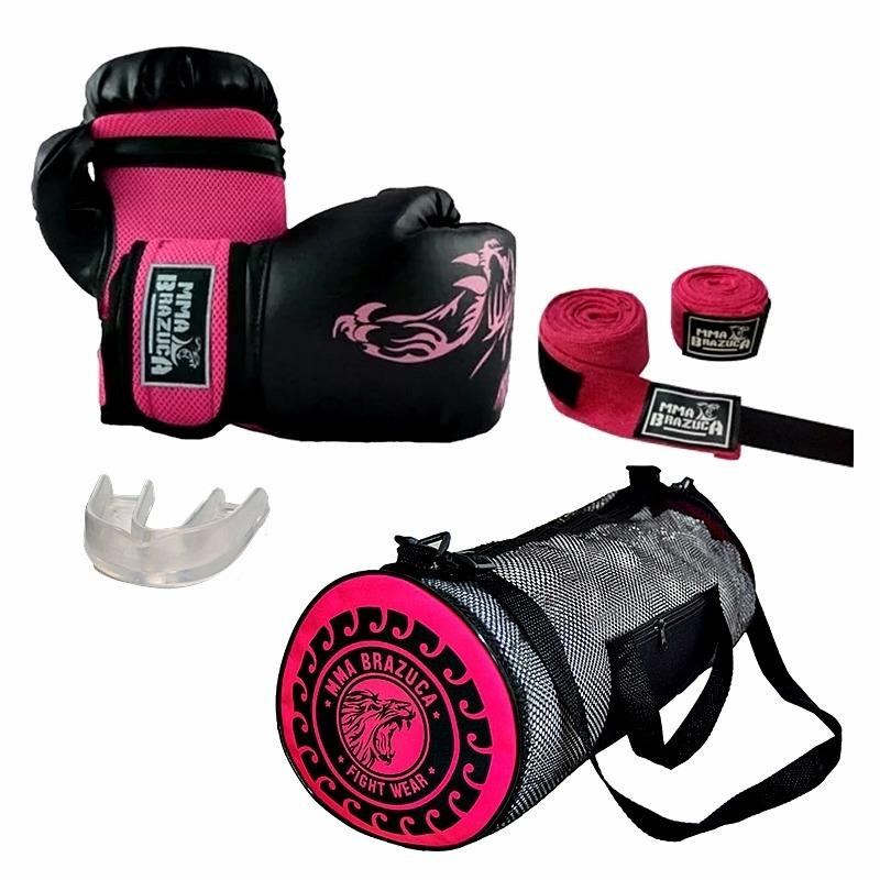 a0e6dfecf Kit Muaythai/boxe: Luva + Bolsa + Bandagem + Bucal - Pink - R$ 120 ...