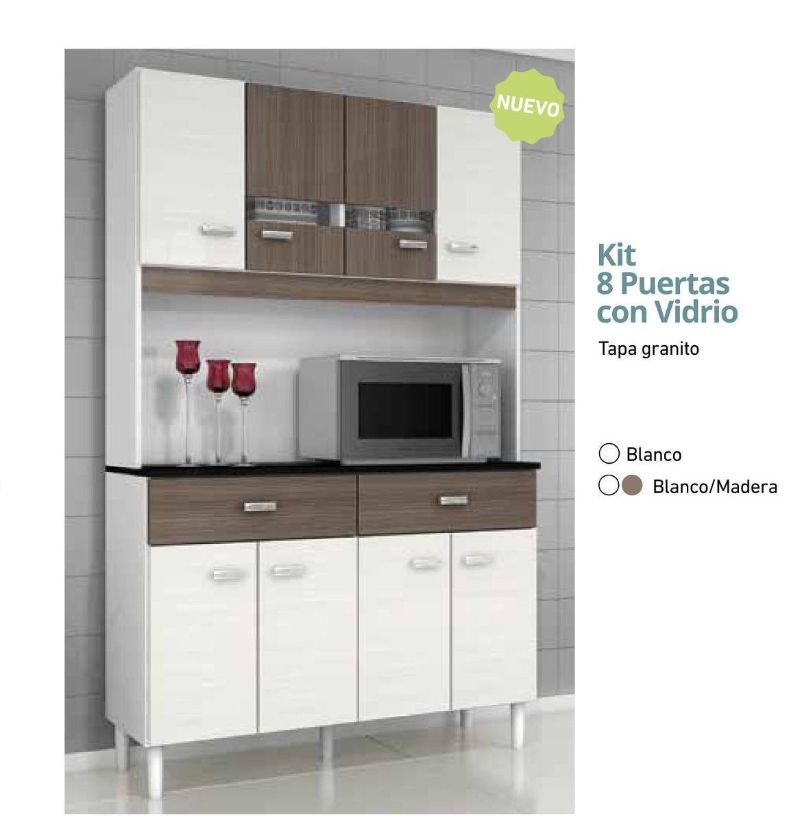 Kit Mueble Cocina Puertas Vidrio Envio Y Armado Gratis  $ 2971,48 en
