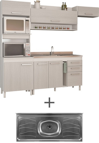 kit mueble de cocina compacta mesada de acero divino