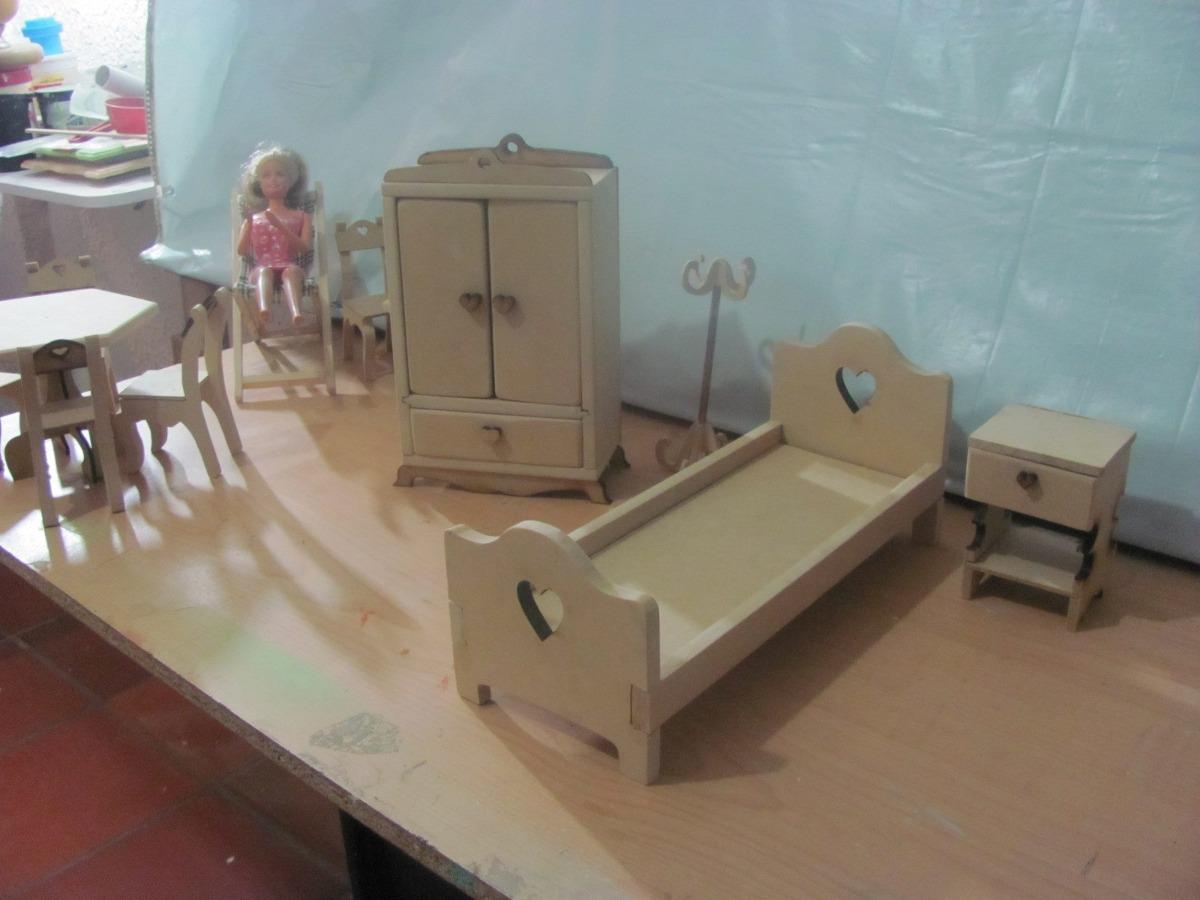 Kit Muebles En Crudo Casa Mu Eca Barbie Juguete Decoracion  # Muebles En Crudo