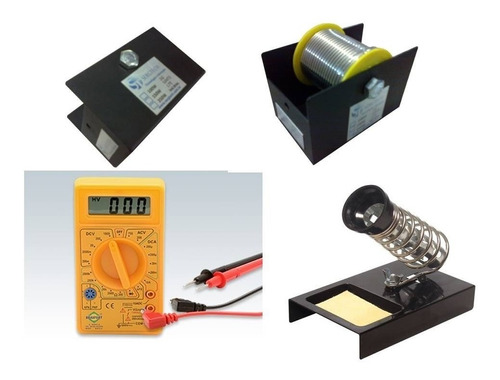 kit multímetro digital suporte p ferro de solda e rolo frete