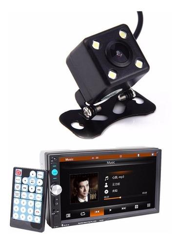 kit multimídia 7 polegadas 2 din com controle e camera de ré