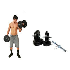 Kit Musculação 2 Barra Halter 40cm + 20kg Anilhas