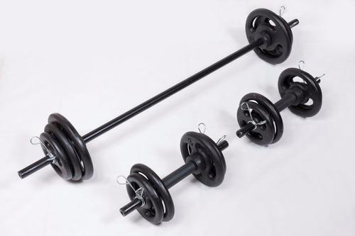 kit musculação fitness barras anilhas