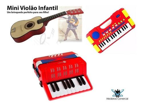kit musical infantil - acordeon, mini violão e mini teclado