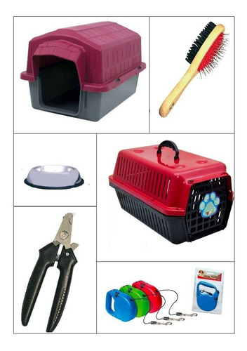 kit my dog 6 pç casinha caixa comedouro alicate escova guia