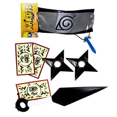 kit naruto - 1 colar azul + 1 kunai + 2 shuriken + bandana