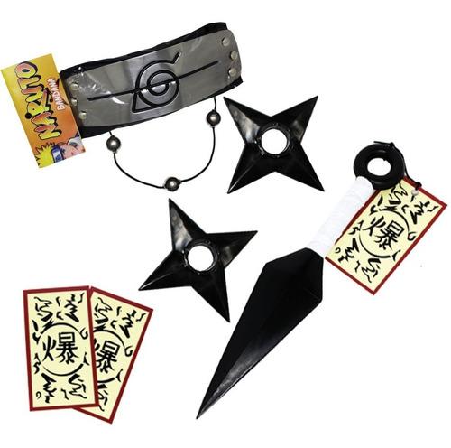 kit naruto itachi - 1 colar + 1 kunai + 2 shuriken + bandana