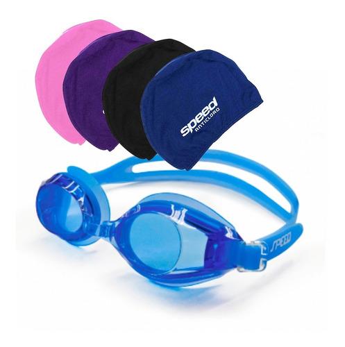 kit natación juvenil anticloro malla gorra antiparras speed