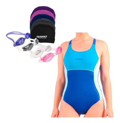 kit natación speed mujer anticloro malla antiparras gorra