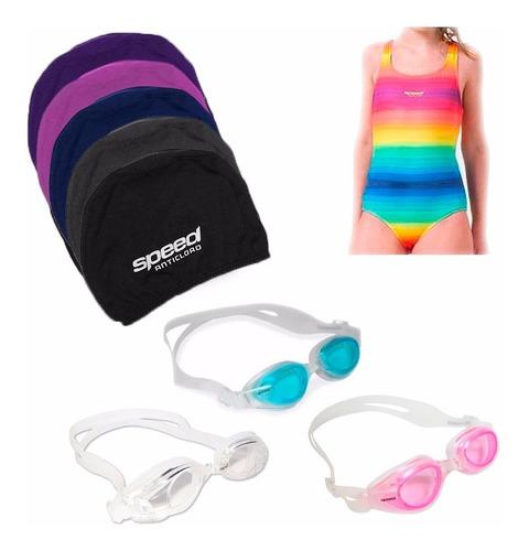 kit natación speed niñas anticloro malla antiparras gorra