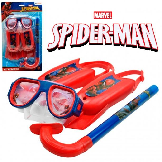 8550a2b1c Kit Natação Infantil Snorkel Máscara Mergulho Homem Aranha - R  95 ...