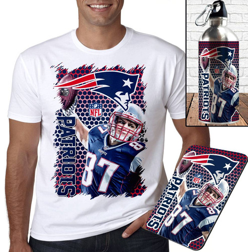 kit new england patriots rob  camiseta + squeeze + mousepad