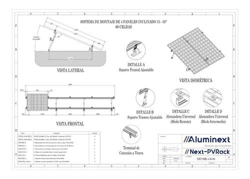 kit next rail para 4 paneles (60/72) 15 a 30°