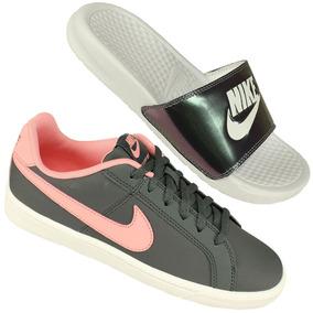 brand new 41032 0c6ba Kit Nike Chinelo Benassi E Tênis Court Royale Super Promoção