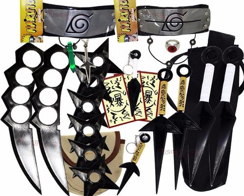kit ninja kunai naruto anel colar shuriken bandana itachi kk