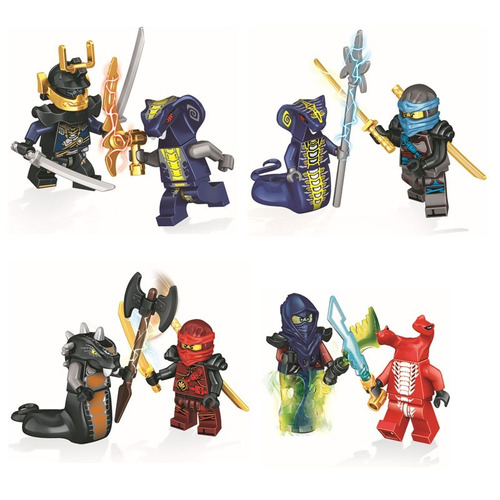 kit ninjago 24pcs master sensei wu vermin + armas serpentes