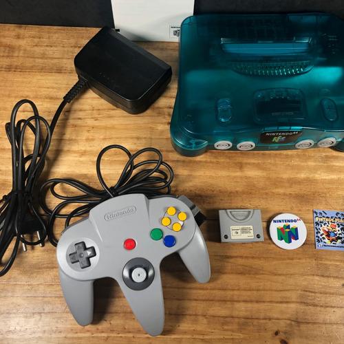 kit nintendo 64 anis c/ 2 controles + 4 jogos + memory card!