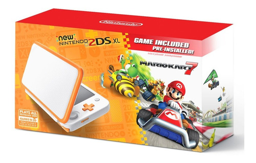 kit nintendo consola 2ds xl blanco naranja + mario kart 7