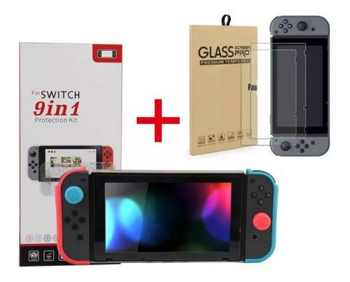 kit nintendo switch funda protector 9 en 1 + vidrio templado