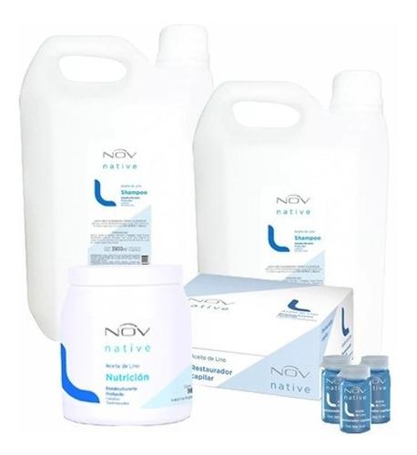 kit nov lino shampoo + balsam + nutricion + ampollas + envio