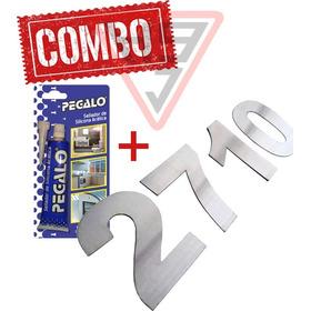Kit Numercacion Casa 4 Numeros Inox 80mm + Adhesivo