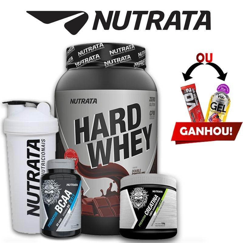 941aaf0ab Kit Nutrata - Hard Whey 900g + Bcaa + Creatina + Brindes - R  79