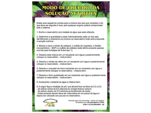 kit nutrientes solução hidroponia 1000 litros folhosas